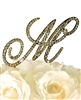 Victorian Collection Rhinestone Monogram Cake Topper in Gold - Letter M