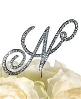 Victorian Collection Rhinestone Monogram Cake Topper in Silver - Letter N