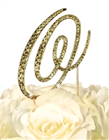 Victorian Collection Rhinestone Monogram Cake Topper in Gold - Letter O