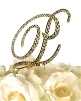 Victorian Collection Rhinestone Monogram Cake Topper in Gold - Letter P