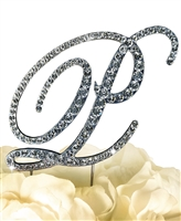 Victorian Collection Rhinestone Monogram Cake Topper in Silver - Letter P