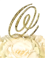 Victorian Collection Rhinestone Monogram Cake Topper in Gold - Letter Q