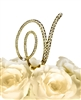 Victorian Collection Rhinestone Monogram Cake Topper in Gold - Letter V
