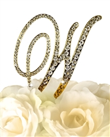 Victorian Collection Rhinestone Monogram Cake Topper in Gold - Letter W