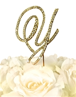 Victorian Collection Rhinestone Monogram Cake Topper in Gold - Letter Y