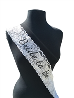"Unik Occasions Bachelorette Party ""Bride to be"" Lace Sash - White"