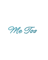 Rhinestone Me Too Script Wedding Shoe Stickers - Blue