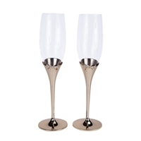"""Bow-tiful"" Collection Toasting Flutes in Gold"