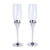 """Bow-tiful"" Collection Toasting Flutes in Silver"