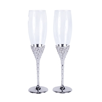 Crystal Collection Toasting Flutes in Silver