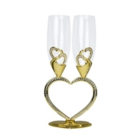 Heart Shaped Toasting Glasses in Gold