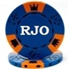 Custom Poker Chips - Blue Hot Stamped Tri-Color Triple Crown