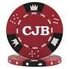 Custom Hot Stamped Red Tri-Color Triple Crown Poker Chips