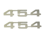 "Engine Size Emblems, ""454"" Logo, Custom, Mirror Polished, Peel and Stick, Pair"