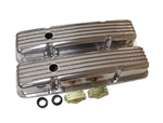 Valve Covers, Small Block, POLISHED ALUMINIUM Finned Classic Ribbed Design - Stock