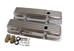 Valve Covers, Small Block, POLISHED ALUMINIUM Finned Classic Ribbed Design - Tall
