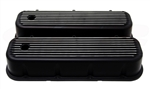 Valve Covers, Big Block, BLACK ALUMINIUM Finned Classic Ribbed Design