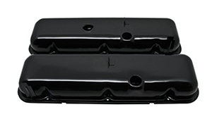 1965 - 1995 CHEVY BIG BLOCK 396, 427, & 454 BLACK STEEL OE STYLE VALVE COVER SET WITHOUT DRIPPERS, TALL