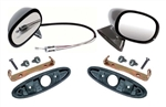 1970 - 1974 Nova New Bullet Mirror Kit, LH and RH with Gaskets, Brackets and Hardware