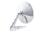 Brushed Round Billet Aluminum Side View Mirror with Fasteners Leading Edge and Convex Glass