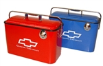 Vintage Chevrolet Beverage Cooler with Bottle Opener Choice from RED or BLUE, with White Colored Details