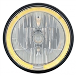 "1971 - 1972 Chevelle 7"" Crystal Headlight with Amber LED Halo Ring Headlamp with 9007 Halogen Bulb, Sold Individually"