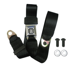 1968 - 1972 Nova Seat Belt, Lap 2 pt., Stainless Buckle and GM Mark of Excellence Button, Black Belt, Each