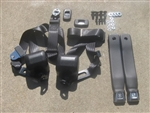 "1967 - 1972 Chevelle Bucket Seat Belts Set, Retractable Shoulder 3 pt. Front, Chrome Buckles with ""GM Mark of Excellence"" Buttons and Choice of Belts Color"