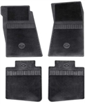 1968 - 1972 Nova Floor Mats Set, Front and Rear, Rubber with Grippers, Black with Bowtie, OE Style