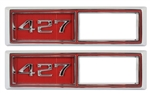 "1968 Marker Light Bezel Emblems, Red, ""427"", Pair, USA MADE"