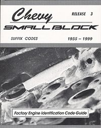 1955 - 1999 Chevelle Over 40 years of Small Block Codes stamped on the front deck, Tells you the original car, year, CID, HP, transmission, option, intake and more.  275 pages