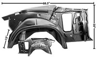 1970 - 1972 Chevelle Inner Rear Quarter Panel and Wheel House Assembly, Right(Convertible), Each