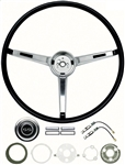 1967 Chevelle Steering Wheel Kit, Deluxe Super Sport, Chrome 3-Spoke Shroud, Black