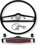 1969 - 1970 Nova Steering Wheel Kit, Black (With Cherrywood Shroud), Kit