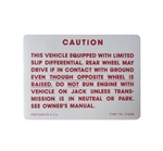 1964 - 1971 Trunk Jack Caution Decal, Positraction with Limited Slip Differential