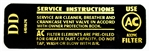 1970 - 1972 Nova Air Cleaner Service Instructions, 6484674 DD Code