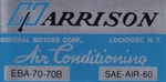 1970 Air Conditioning Evaporator Box, Harrison Decal