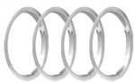 1971 - 1974 Chevelle 15 x 7 Wheel Trim Rings Set, Z28 Style - Brushed Stainless Steel Finish