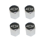 Valve Stem Caps, Custom, Black with Silver Bowtie