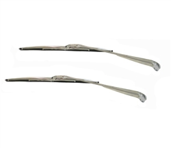 1964 - 1967 Chevelle Windshield Wiper Arms / Blades Kit - Stainless Steel - Coupe