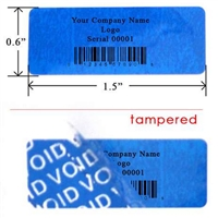 Custom Print Blue warranty Label, Custom Print Blue warranty Sticker, Custom Print Blue warranty Seal,
