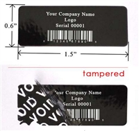 Custom Black warranty Label, Custom Black warranty Sticker, Custom Black warranty Seal,