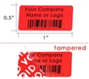 Customized Print Red Security Label, Customized Print Red Security Sticker, Customized Print Red Security Seal,