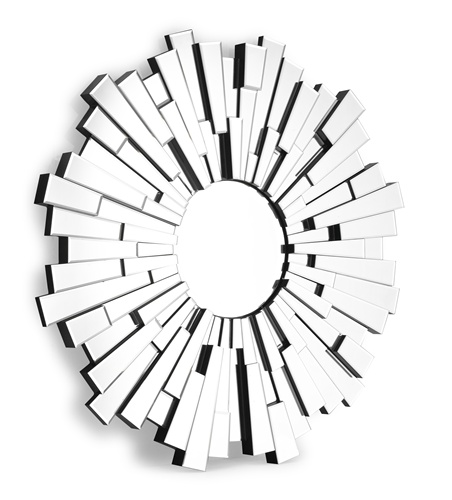 "Almost 100 individual beveled mirrors of varying dimensions and projection create the striking design of the Burst mirror. <br>Dimensions: 47""W x 2""D<br>"