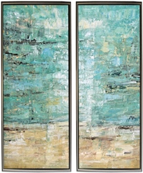 Vista Dreams Set of Two  Modern Art  with Silver Floating Frame available