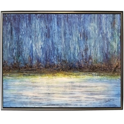 Playa Azul Modern Art  with Silver Floating Frame available at Modern Home 2 Go