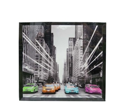 Colorful Cabs Modern Glass Art 24 x 24