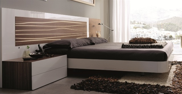 Ultra Modern Bed mh2g - beds - aqua bed in walnut/white