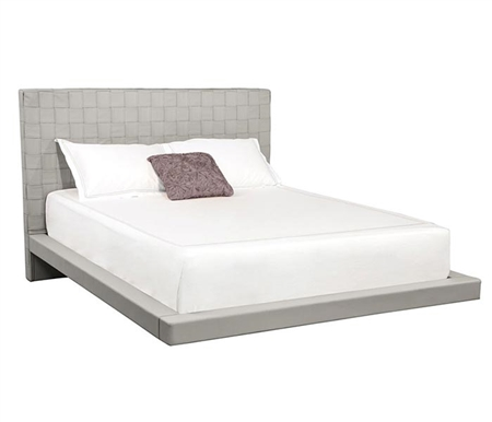 Lugo Modern Queen Bed in Grey Leatherette