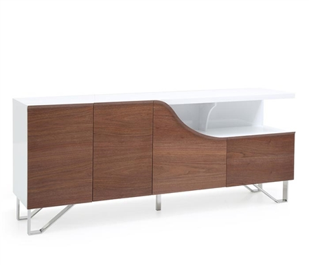 Bari Modern Buffet Walnut and White